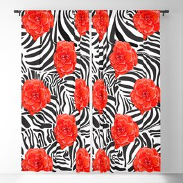 Zebra and Begonia Blackout Curtain