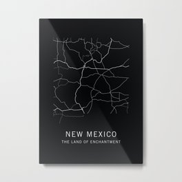 New Mexico State Road Map Metal Print