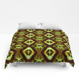Bright Green Brown Diamond Pattern Comforters