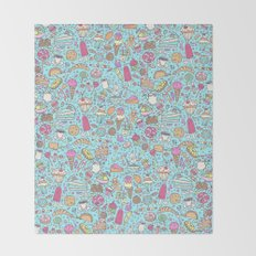Sweet candy pattern (blue) Throw Blanket