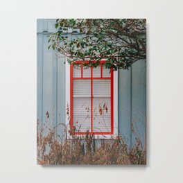 The Foliage Outside of The Red Window Metal Print
