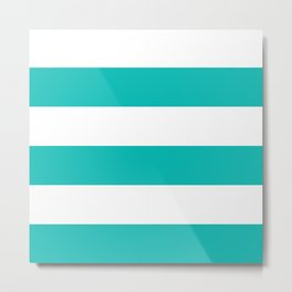 Wide stripes /  tiffany blue Metal Print