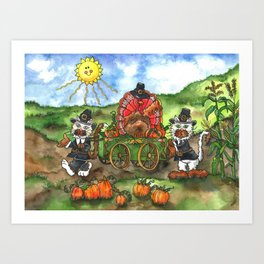 Cats and Friend Thanksgiving Parade Art Print