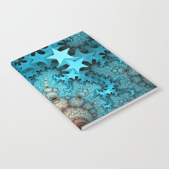 Cute blue stars and decorative orbs, fractal abstract Notebook