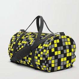 Yellow, Black, and Medium Gray Random Squares Mosaic Duffle Bag