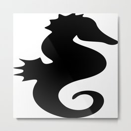 Seahorse in Black Metal Print