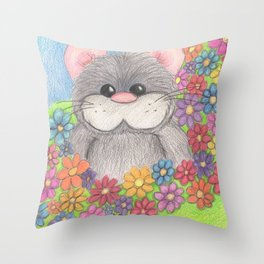 Hammy in Flowers Throw Pillow