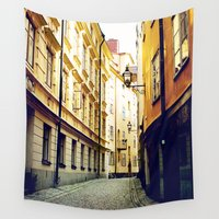 stockholm Wall Tapestries featuring Stockholm Gamla Stan  by JMcCool