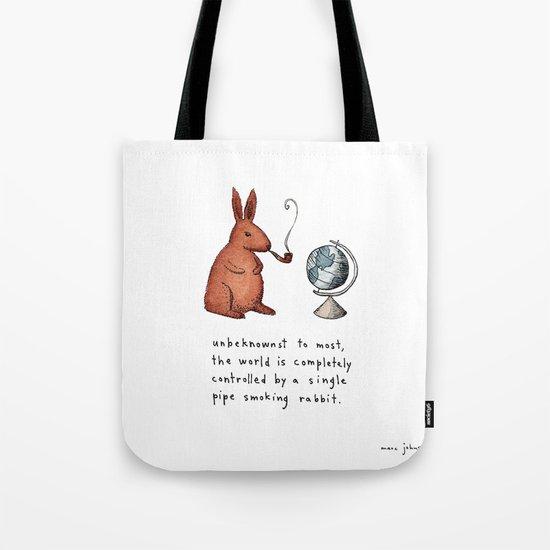Pipe-smoking rabbit Tote Bag