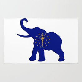 Indiana Republican Elephant Flag Rug