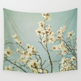 Magnolia blossoms. Mint Wall Tapestry