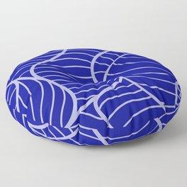 Cobalt Blue Line Pattern With Serpentine Designs Floor Pillow