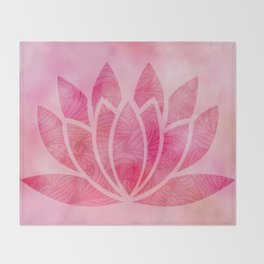 Zen Watercolor Lotus Flower Yoga Symbol Throw Blanket