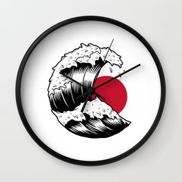Vintage Japanese Sun and Wave Illustration Wall Clock