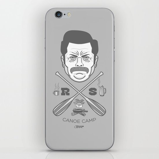Ron Swanson Canoe Camp (clean gray variant) iPhone & iPod Skin