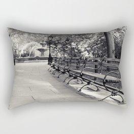 On a Park Bench At City Hall Rectangular Pillow