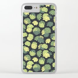 Green Succulents Pattern Clear iPhone Case