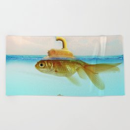 Submarine Goldfish Beach Towel