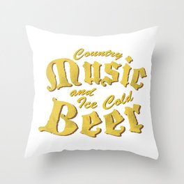 Country Music and Beer Funny Musicians Gifts Throw Pillow