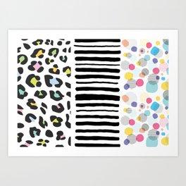 Animal stripes and bubbles Art Print