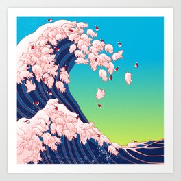 Christmas Baby Pigs The Great Wave in Blue Art Print