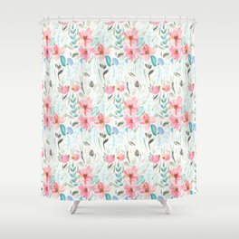 Garden Watercolour Floral Shower Curtain