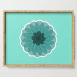 turquoise blue geometrical flower Serving Tray