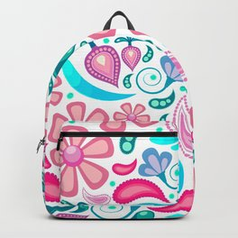 Colorful Teal and Peach Floral Design Backpack