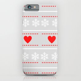 red heats snowflakes pattern iPhone Case