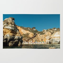 People On Praia do Camilo (Camel Beach) In Portugal, Travel Photo, Large Printable Photography Rug