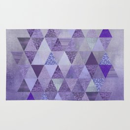 Glamorous Purple Faux Glitter And Foil Triangles Rug