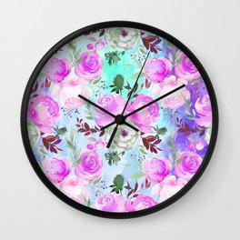 Blush pink lilac lavender teal watercolor roses pattern Wall Clock