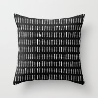 woodstock Throw Pillows featuring White on Black Woodstock Pattern by LacyDermy