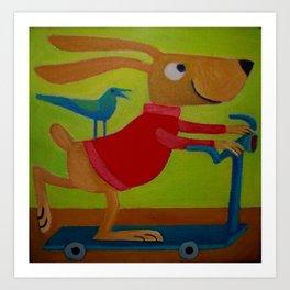 the playful rabbit Art Print
