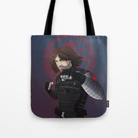 winter soldier Tote Bags featuring Winter Soldier  by Inkforwords
