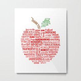 Red apple word art idea for teacher Appreciation Metal Print