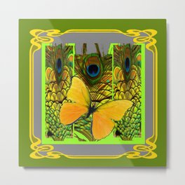 GREEN ART NOUVEAU BUTTERFLY PEACOCK PATTERNS Metal Print