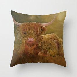 Highland Cow, Scotland Cow, Cute Highland Cow, Scotland Highlands Cow, Ferdinand, Cute Cow, Hairy Co Throw Pillow