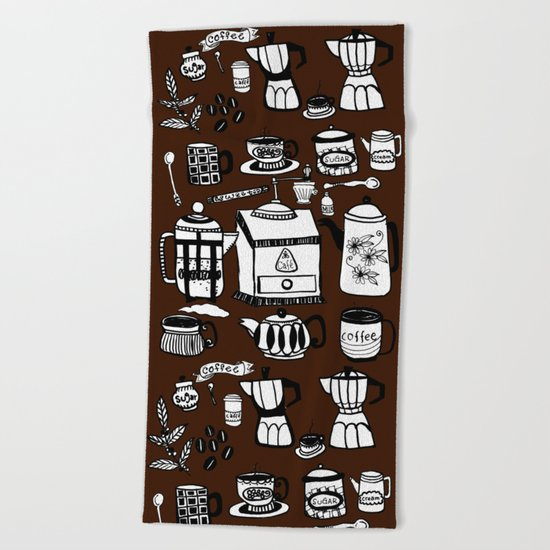 Coffee Doodles Beach Towel