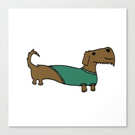 Daschund with sweater Canvas Print
