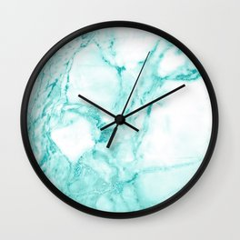 Teal Mermaid Glitter Marble Wall Clock