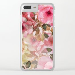 Romantic flowers pattern Clear iPhone Case