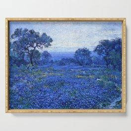 Bluebonnet pastoral scene landscape painting by Robert Julian Onderdonk Serving Tray