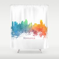 minneapolis Shower Curtains featuring Skyline Minneapolis colored by jbjart
