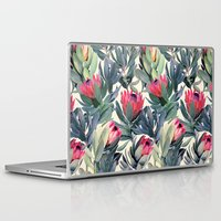 bianca green Laptop & iPad Skins featuring Painted Protea Pattern by micklyn
