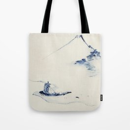 A Person in a Small Boat on a River with Mount Fuji in the Background by Hokusai Tote Bag