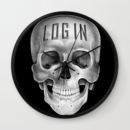 Skull Log in B&W Wall Clock