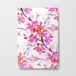 Watercolor Sakura Cherry Blossom Fuchsia Metal Print