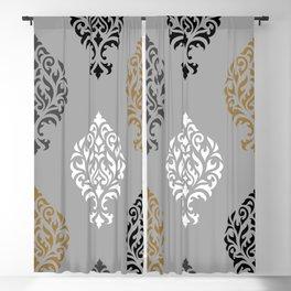 Orna Damask Art I BW Grays Gold Blackout Curtain