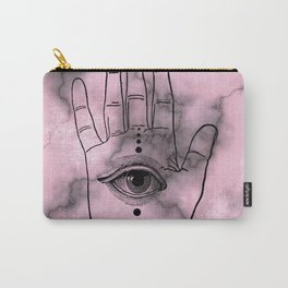 Hamsa Horus Eye Pink Gray Marble Carry-All Pouch